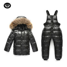 Boy Winter Duck Down Ski Suits For Russian Girl Down Jacket Coat + Jumpsuit Set 7 Color Thick Jumpsuit Coats White Duck Down(China)