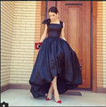 Navy Blue High Low Ball Gown Prom Dress Short Front Long Back With Flower 2016 Spaghetti Women Pageant Dress Party Gown