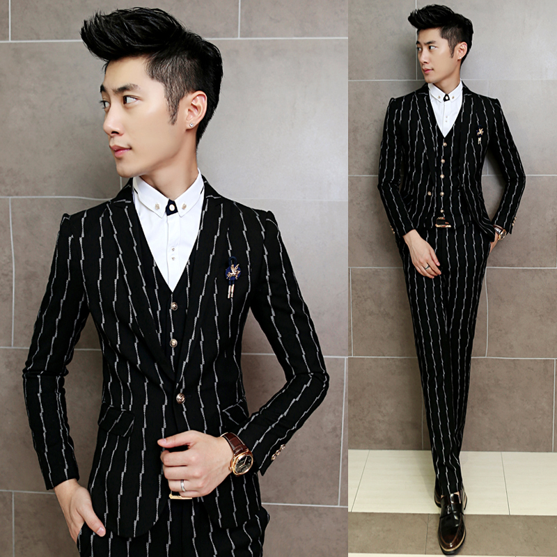 Striped Suit 3 Piece Sets Men Business Wedding Banquet Mens Suits Jackets with Vests and Pants Slim Cotton and Polyester Fabrics