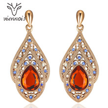 Viennois Coffee Gold Color Orange Crystal Drop Earrings for Women Vintage Dangle Earrings Blue Rhinestone Female Trendy Jewelry