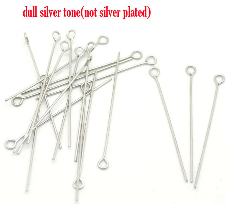 "DoreenBeads Stainless Steel Eye Pins Silver Tone 4cm(1 5/8"")long,0.7mm(gauge),20 PCs"