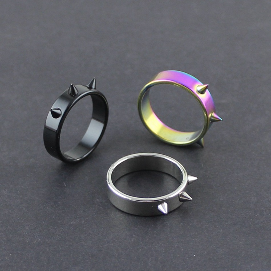 Personal Self-defense Titanium Steel Ring Personality Men And Women Self-defense Thorn Head Ring Anti-wolf Nail Barbed Ring