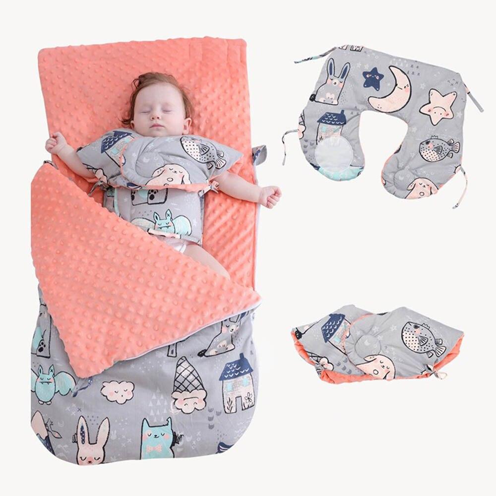 Cotton Warm Thicken Bedding Quilt Blanket Baby Blankets Newborn Envelope Baby Stroller Swaddling Wrap Infant Kids Sleeping Bag