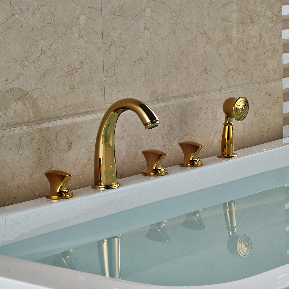 Gold Polished 5pcs Bathtub Mixer Tap 3 Handles Bathroom Tub Faucet With Brass Hand Shower shinesia newly luxury gold polished brass 5pcs bathroom bathtub faucet swan spout with hand shower mixer 3 handles hot and cold
