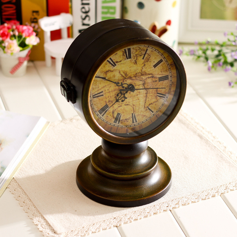 Retro Table Clock Antique Relogio Vintage Home Decor Metal de doble - Decoración del hogar - foto 3