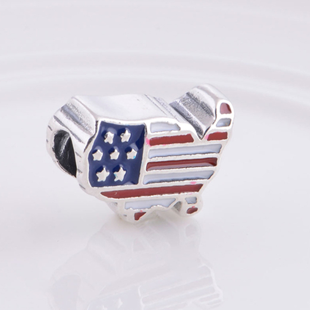 f48771018 Hot Fit for Pandora Charms Bracelet Bead 925 Sterling Silver, Enamel USA  Flag Charm Beads DIY Bracelets for Jewelry Making