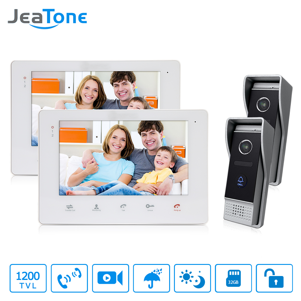 JeaTone 7 Inch HD Video DoorPhone Doorbell Touch Panel Monitor 2v2 Doorman camera With IR Night Waterproof Function jeatone 10 hd wired video doorphone intercom kit 3 silver monitor doorbell with 2 ir night vision 2 8mm lens outdoor cameras