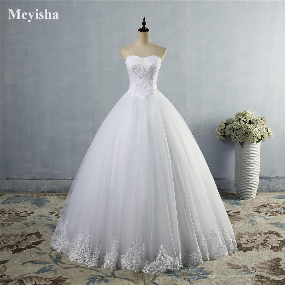 Zj9014 Beautiful Ivory White Lace Edge Wedding Dress 2016