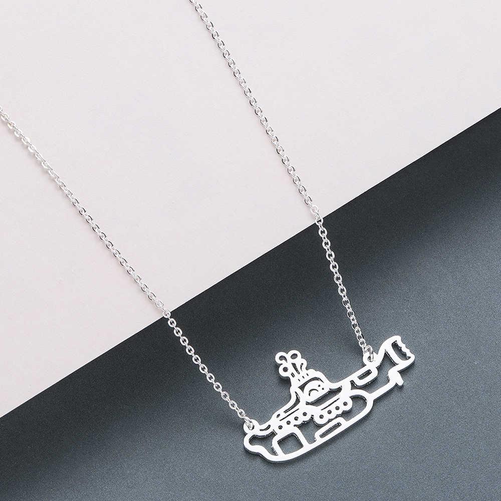 QIMING łodzi podwodnej wisiorek naszyjnik ze stali nierdzewnej mężczyzn biżuteria srebrny złoty Ocean Navy prezent moda Chain naszyjniki Collier