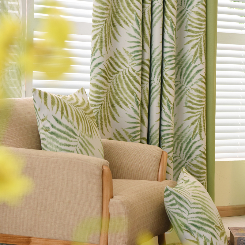 Country style curtains thick drapes green blue patterned for Cortinas verdes para salon
