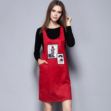 Cute Style! New European Women's bottoming sweater+Deerskin Vest Strap Skirt  2 piece women's Clothing Set 1439