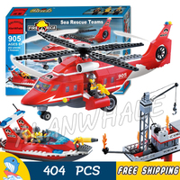 404pcs New City Fire Helicopter Boat Sea Rescue 905 Large Model Building Blocks Response Unit Children