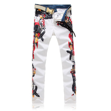 Unique Design Men Personality White Cool Pattern Jeans Male Slim Straight Denim Trousers Street Star Denim Pants Plus Size 40