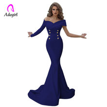 Off Shoulder Mermaid Evening Party Dresses 2019 Long Evening Gown Long Sleeves White Maxi Robe De Soiree Elegant Formal Dress(China)