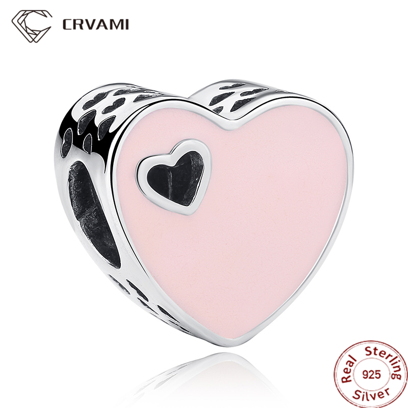 CRVAMI Charm, 925 Sterling Silver Pink Love Heart Charms Pendants Fit Bracelets & Bangles Beads for Jewelry Making