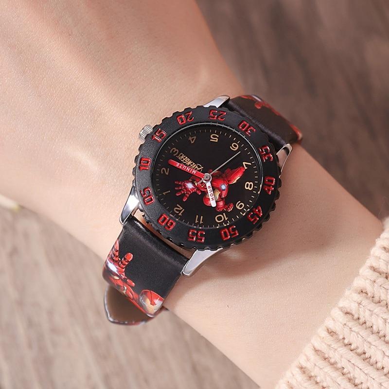 Image 3 - Marvel Мстители Капитан Америка Железный мужской детский синий красный PU ремешок Кварцевые водонепроницаемые часы Disney Пряжка аналоговые наручные часы для детейДетские часы   -
