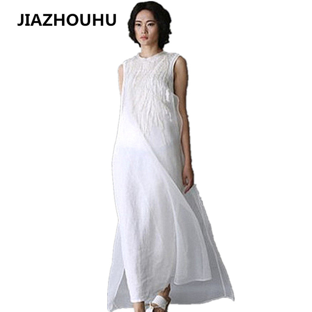 19dbc8f39595 US  28.7 25% OFF Plus Size Linen Solid Summer Dress Long White Dresses For  Women Evening Party Dress Female Loose Casual Beach Tunic Sleeveless-in ...