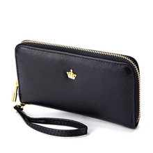 2017 New Women Ladies Wallets Soft Leather Wallet Crown Clutch Leather Bags Purse Popular Handbags With Strap Free Shipping J415