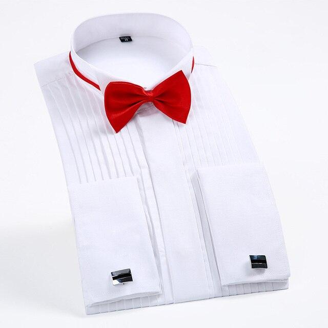 Французский Кнопка Манжеты Мужчины Платье Рубашки С Длинным Рукавом мужская Смокинг Рубашки Мужчины Свадьба жених Рубашки белый черный