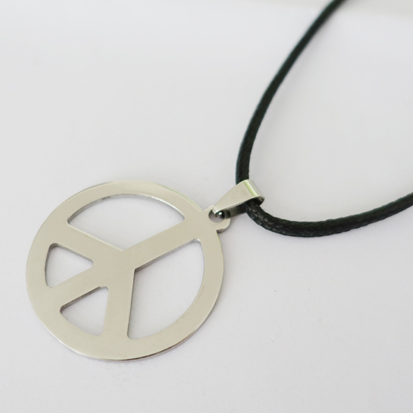 Hippie stainless steel jewelry silver peace sign pendant necklace hippie stainless steel jewelry silver peace sign pendant necklace for men with black chain in pendant necklaces from jewelry accessories on aliexpress mozeypictures Choice Image