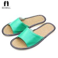 KESMALL 2018 New Men S Home Leather Slippers Summer Sheepskin Slippers Massage Non Slip Bottom Home