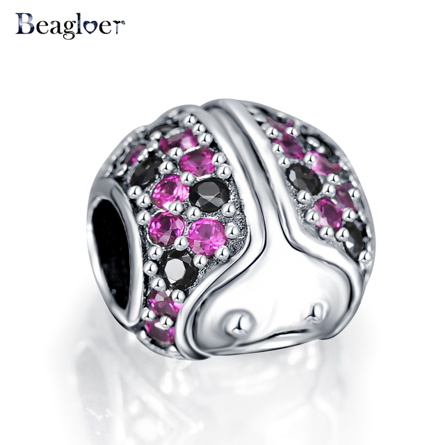 3054ea80ba8a9 US $8.23 40% OFF|Beagloer 100% 925 Sterling Silver Sparkling Ladybug Charm  Fit Handmade Bracelet Necklace Authentic Jewelry For Women PSMB0549-in ...