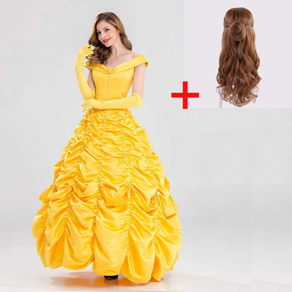 Hot Top Beauty and the Beast Princess Belle Dress OR Wigs Cosplay Costume Halloween Adult Women Belle Costumes Yellow Long Dress