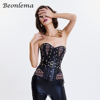 Beonlema Rivet Steampunk Girdle Sexy Bodice Corset Women Retro Korset Strapless Backless Hot Corsage Femme Corset Tight Lacing