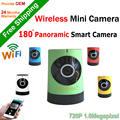 1.0MP 2017new Wirelees Cámara plug and play Mini Wifi Inteligente ojo de pez de 180 grados panorámica IP Cámara de Interior P2P remoto Moblie vista