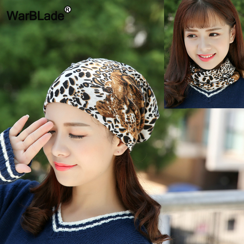 WarBLade Fashion Women   Beanies   Hat Cap Autumn And Winter Hats Female Leopard Scarf Hat Three Used   Skullies     Beanies   Warm Bonnet