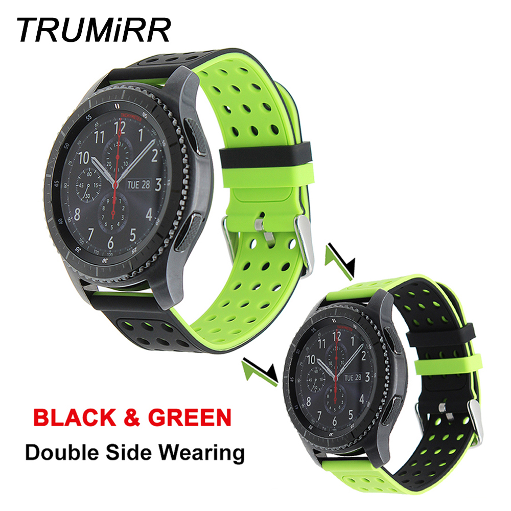 22mm Silicone Rubber Watch Band Double Side Wearing Strap for Samsung Gear S3 Classic Frontier Wrist Belt Bracelet Multi Colors 18 colors rubber wrist strap for samsung gear s3 frontier silicone watch band for samsung gear s3 classic bracelet band 22mm