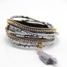 ZG Women Leather Bangles Bracelets Multilayer Snake Pattern Rope Chain Rhinestone Wrap Bracelet Jewelry