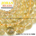 Citrine beads Natural crystal stone Top quality Yellow creastly Round Loose beads ball 4/6/8/10/12MM Jewelry bracelet making DIY