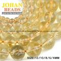Citrino cristal Natural Yellow creastly granos Flojos Redondos de piedra de calidad Superior bola 4/6/8/10/12 MM pulsera Joyería que hace DIY
