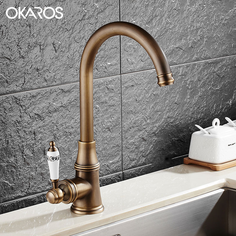 OKAROS Kitchen Faucet Water Tap 360 Degree Rotation Solid Brass Single Handle Hot Cold Water Vessel Sink Basin Tap Mixer golden brass kitchen faucet dual handles vessel sink mixer tap swivel spout w pure water tap