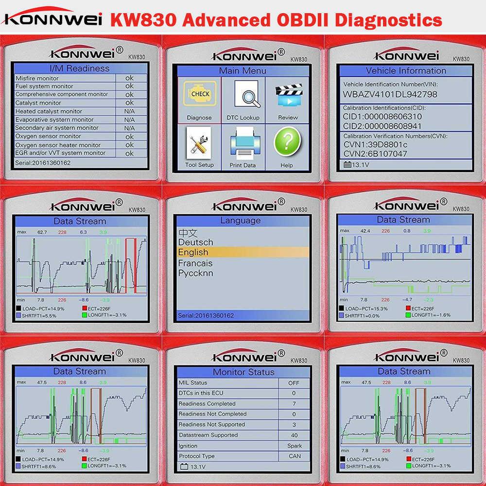 OBD2 otomatik tarayıcı KONNWEI KW830 araç teşhis aracı otomatik kod okuyucu EOBD OBD 2 Autoscanner