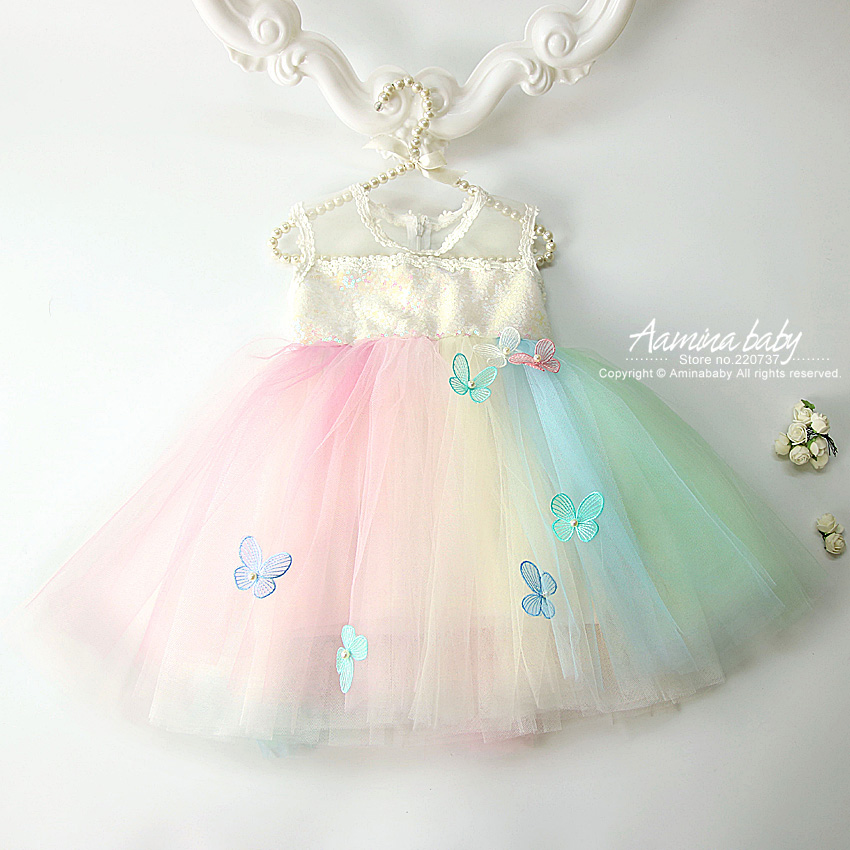 Sequins Colorful Rainbow Tulle Tutu Toddler Baby Girls Dress Princess Party Wedding Birthday Summer Kids dresses for girls 1-10Y pudcoco baby girls dress toddler girls backless lace bow princess dresses tutu party wedding birthday dress for girls easter