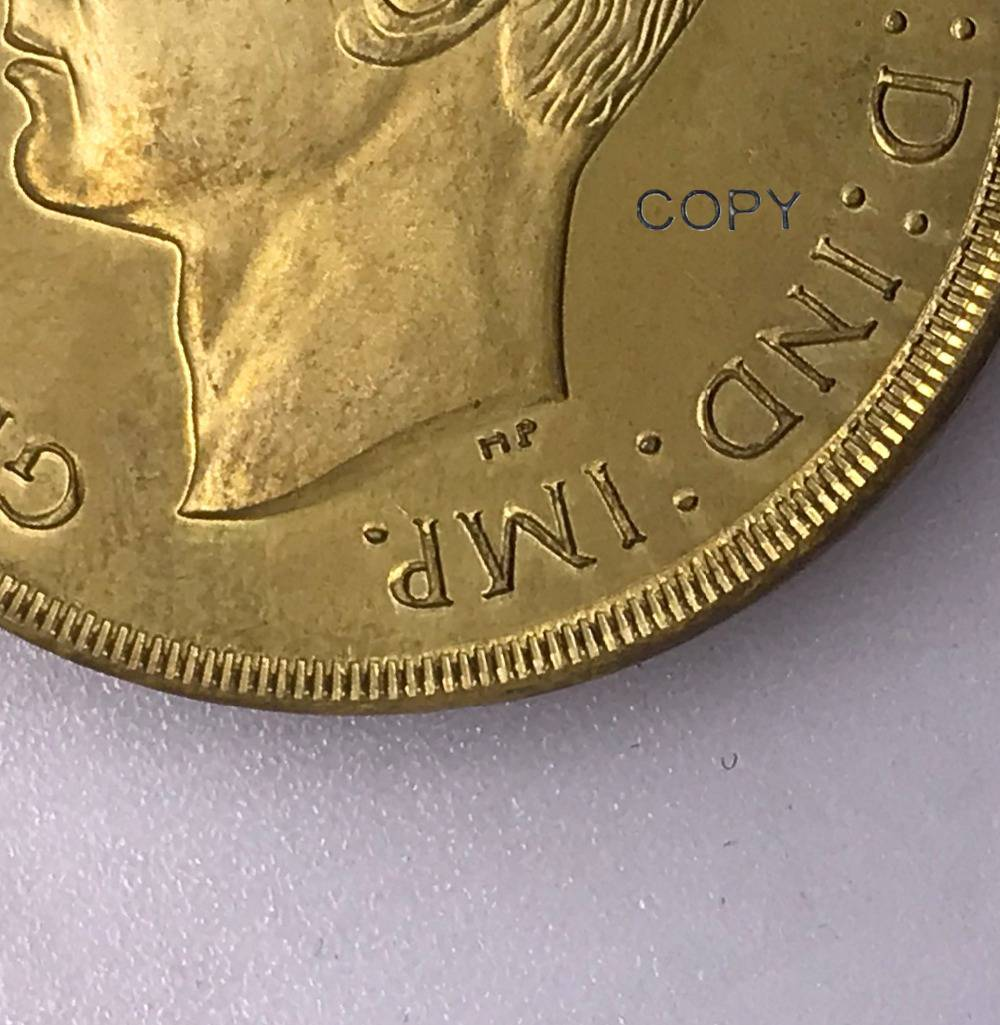 Great Britain George VI gold <font><b>coin</b></font> 5 Pounds <font><b>1937</b></font> Brass Metal Copy <font><b>Coins</b></font> image