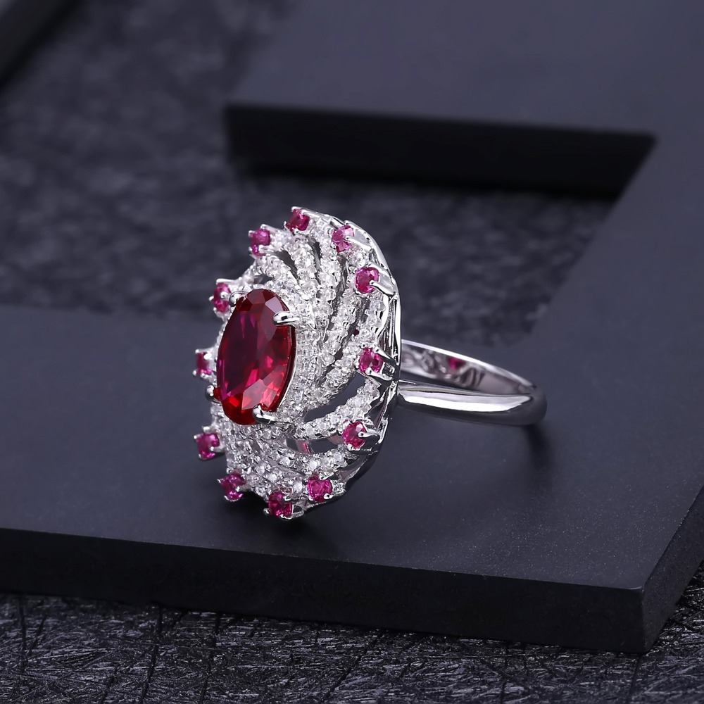 Image 3 - Gems Ballet Huge Luxury Created Ruby Vintage Cocktail Ring 925  Sterling Silver Engagement Wedding Rings For Women Fine JewelryRings