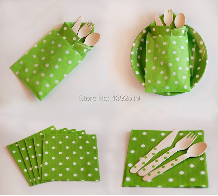 Free Shipping 400PCS  Green Polka Dot  Baby Shower Kid's Party Paper  Napkins Lovely Party Decoration  Napkins