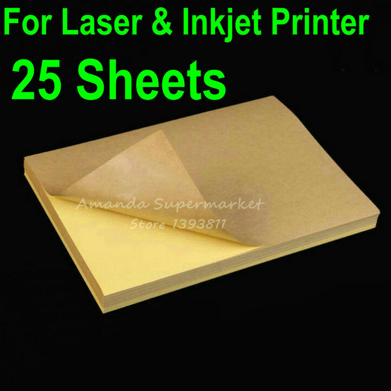 2019 Fashion 25 Sheets A4 Blank Kraft Label Sticker Paper Brown Self Adhesive Paper For Laser & Inkjet Printer
