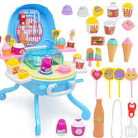 Ice Cream Case Pretend Play Food Dessert and Candy Trolley Set Toy with Music and Lighting Toys for Girls Kids Boys Children