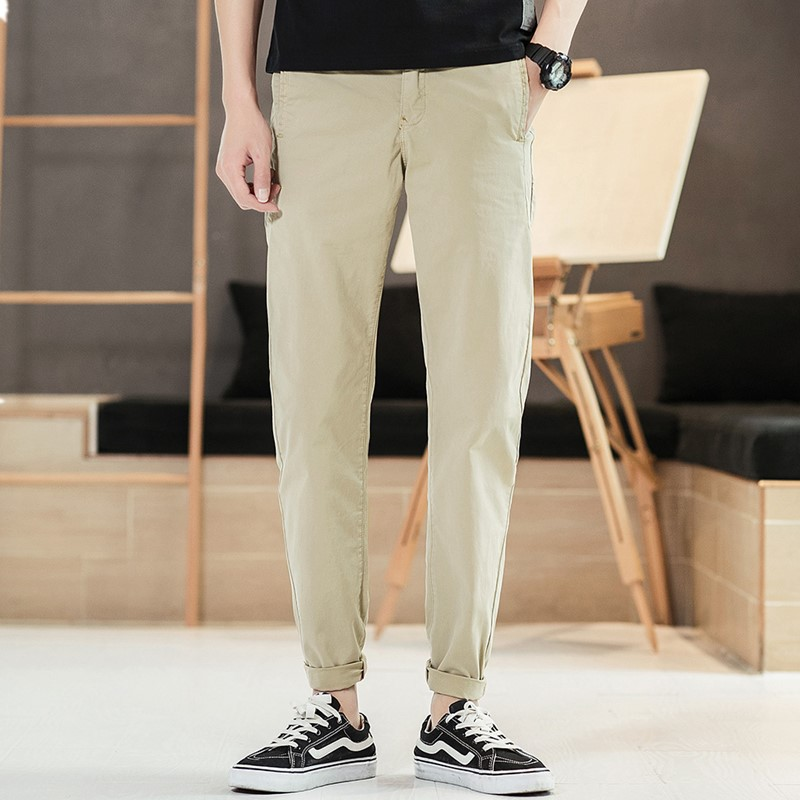 Mens Casual Trousers 2019 Spring New Straight Simple Narrow Feet Wild Pants European Style Fit For Party Work Travel Dating