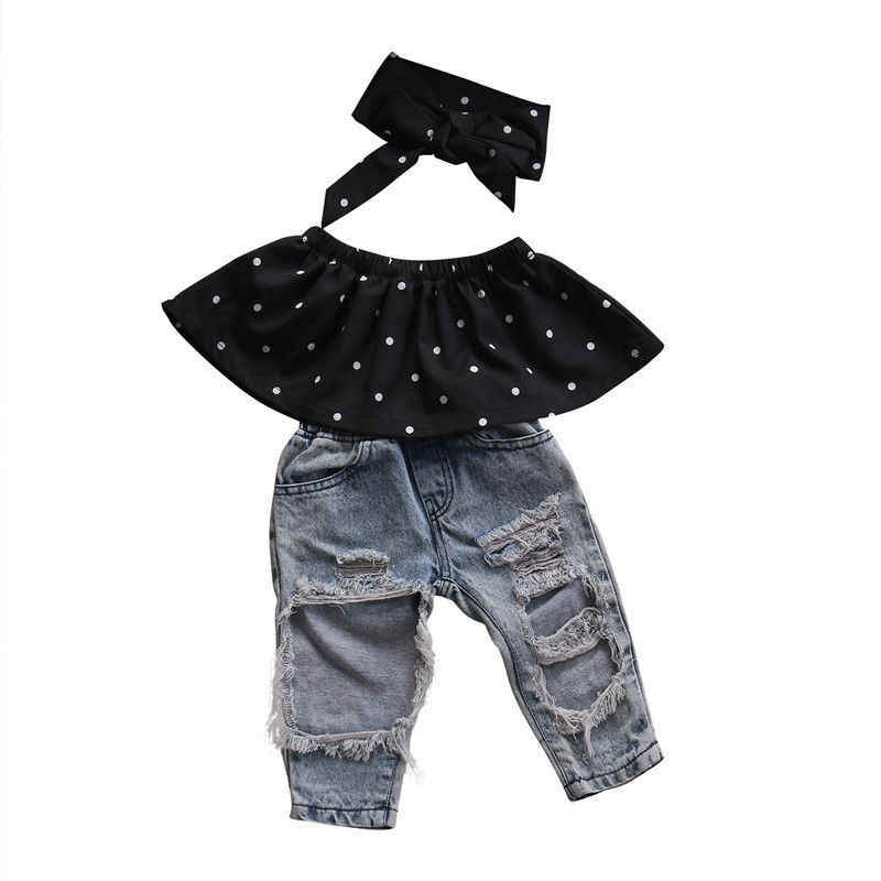 b35fad8166ea4 0-3Y Toddler Baby Girls Dot Sleeveless Crop Tops Hole Jeans Outfits 3pcs  Black Casual