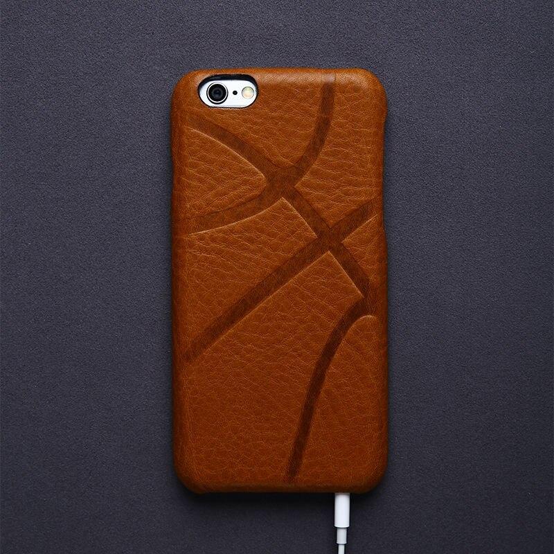 bilder für Luxus Retro Italienische Ledertasche für iPhone 6 6 s Zubehör Vintage Telefon Abdeckung Tasche für iphone 7 plus fall Basketball muster