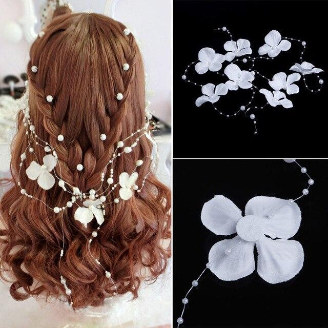 De mariage De Mariée Blanc Perle Fleur Demoiselle D'honneur Garland bandeau Head band bandeau bijoux chapeaux accessoires 1