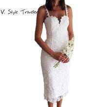 e4d09619cb Verano estilo blanco negro encaje vestido V Cami vestido Sexy ropa barata  china vestidos de fiesta mujer Casual Oficina Midi ves.
