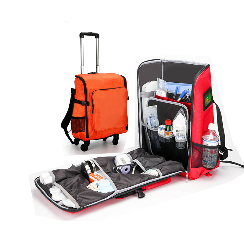 BearHoHo Empty Detachable Trolley Backpack Survival Kit Bag Medical Care Trolley Emergency Rescue Doctor Visit First Aid Bag