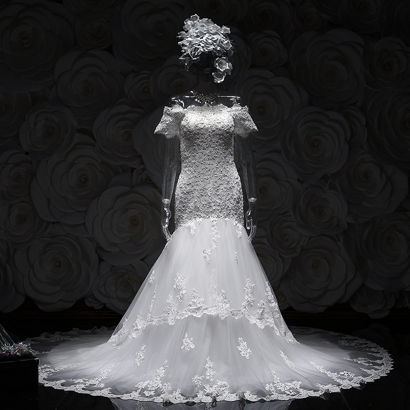 2015 best selling mermaid white cap sleeve modest wedding dresses lace appliques real picture bridal gowns
