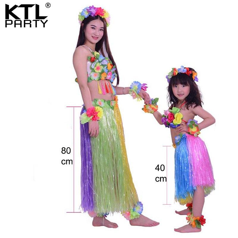 KTLPARTY femmes et filles rianbow couleur hula jupe ensemble mère/80 cm + fille/40 cm hawaïen herbe jupe costumes ensemble